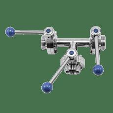 Клапан трёхходовой с 3-мя затворами нержавеющий DN050 M-M-M DIN 11851 AISI 316L / 1.4404 (вкладыш EPDM)