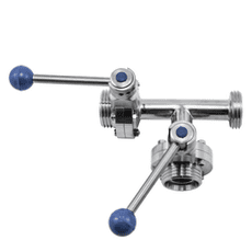 Клапан трёхходовой с 2-мя затворами нержавеющий 90 гр. левый DN065 M-M-M DIN 11851 AISI 304 (L) / 1.4301 (7) (вкладыш SILICON)