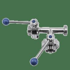 Клапан трёхходовой с 2-мя затворами нержавеющий 90 гр. левый DN050 M-M-M DIN 11851 AISI 304 (L) / 1.4301 (7) (вкладыш SILICON)
