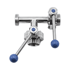 Клапан трёхходовой с 2-мя затворами нержавеющий 90 гр. правый DN032 M-M-M DIN 11851 AISI 316L / 1.4404 (вкладыш SILICON)