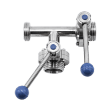 Клапан трёхходовой с 2-мя затворами нержавеющий 90 гр. правый DN100 M-M-M DIN 11851 AISI 316L / 1.4404 (вкладыш EPDM)